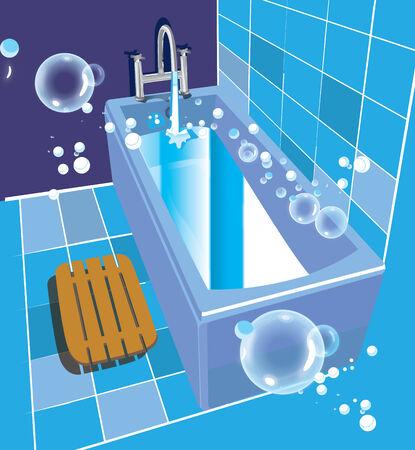 ceramic: Ilustraci�n vectorial de ba�o y ba�era de cer�mica