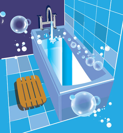 Vector illustration of bathroom and ceramic bathtub Vector