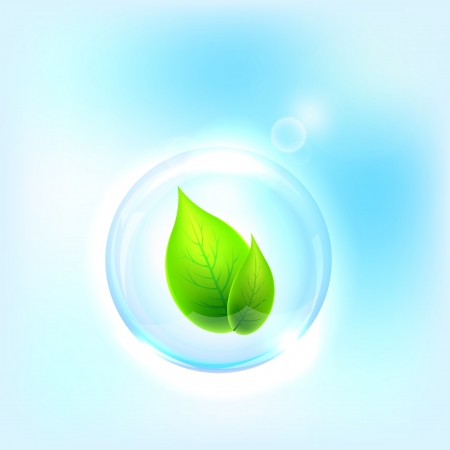 Vector illustration of blue bubble on the light background  Eco concept