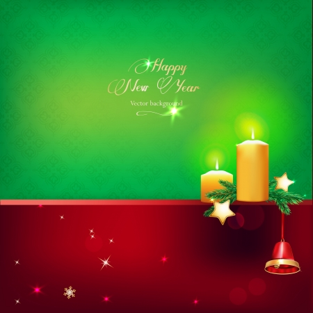 Vector illustration of beautiful red and gold christmas bell snd candles on green background Vector