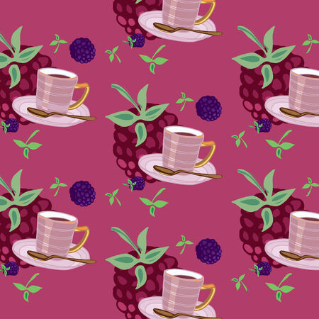 dewberry: Beautiful rosy pattern with teacups and berries