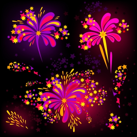 petard: Colorful Vector Fireworks and Salute - isolated on black background Illustration