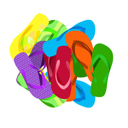 The illustration of multicolored flipflops isolated on white  Vector image  Vector