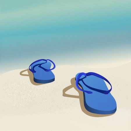 Vector summer background with beautiful seawaves and flip-flops