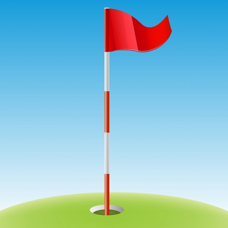 putting green: The illustration of beautiful red golf flag  Vector image  Illustration