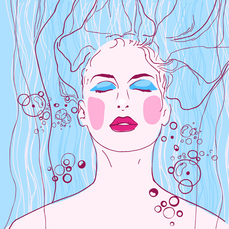 woman washing face: The illustration of beautiful woman bathing  Vector image
