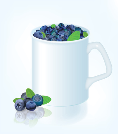 whortleberry: The illustration of white mug with blueberries