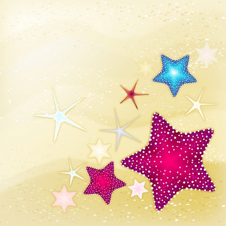 sand background: Sand background in beige colors with starfish. Vector illustration.