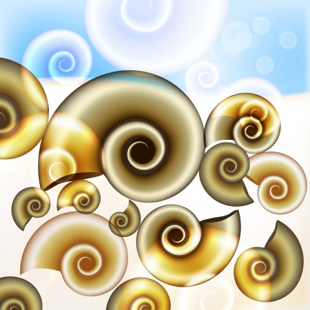sand background: Sand background in beige colors with naiatilus shells. Vector illustration.