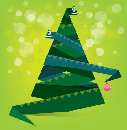 snake year: The illustration of New Year tree shaped snake