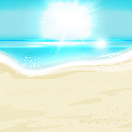 Summer holiday background with sea landscape  Vector illustration  Vector
