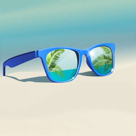 The illustration of beautiful sunglasses on the seashore  Vector image