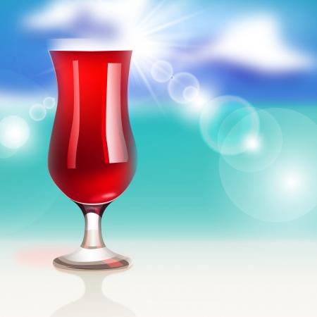 The illustration of beautiful cocktail on the seashore  Vector image  Illustration