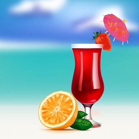 horizont: The illustration of beautiful cocktail on the seashore  Vector image  Illustration