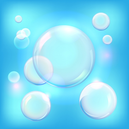 Vector illustration of soap bubbles on blue background