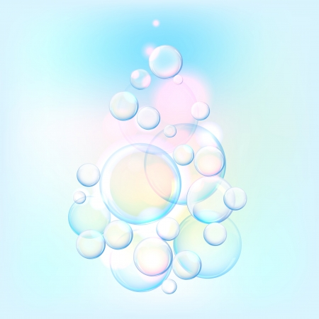 sud: Vector illustration of blue water drops on the light background