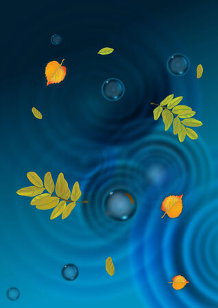 puddle: The illustration of autumn puddle with leaves Illustration