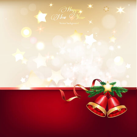 Vector illustration of beautiful red and gold christmas bells on gold background Vector