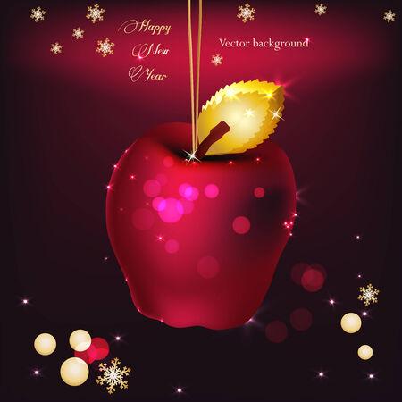 Ilustraci�n vectorial de la hermosa manzana navidad rojo y oro