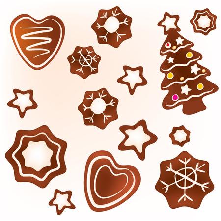 galletas de jengibre: La ilustraci�n de varias galletas de jengibre de Navidad