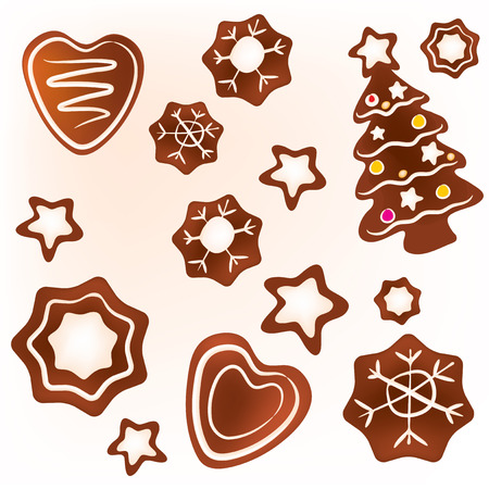 The illustration of various christmas ginger cookies Illustration