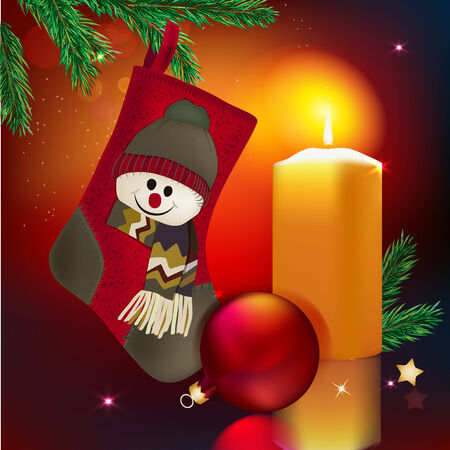 Vector illustration of beautiful red christmas sock and candle Vector