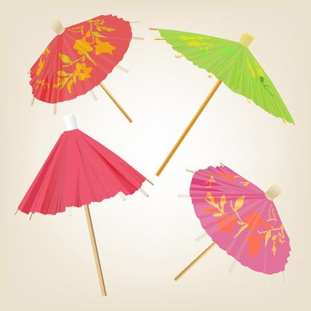 L'illustrazione di bei ombrelli cocktail. Immagine vettoriale.