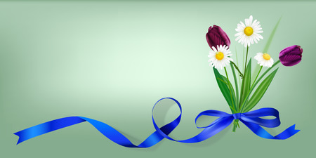 The illustration of camomile and tulip posy. Vector Image.