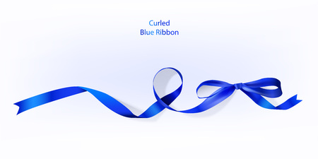Vector illustration of curled blue ribbon for multiple purposes.
