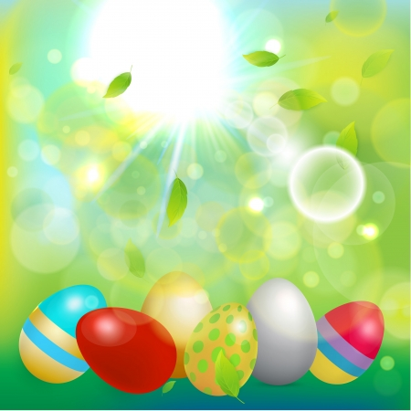illustration for advertising: Shiny bright Easter background. Vector illustration for advertising and different purposes.