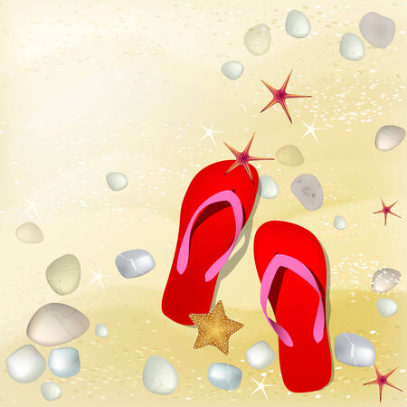 Sand background in beige colors with starfish and flip-flops. Vector illustration. Vector