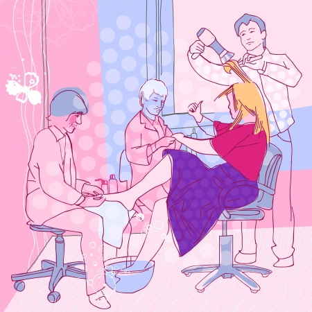 The illustration of beautiful woman in hairdressing salon. Vector image.