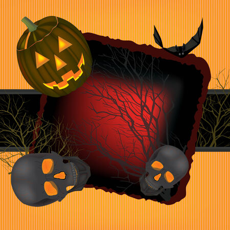 death s head: Helloween vector horrible background  with black  bats and skulls