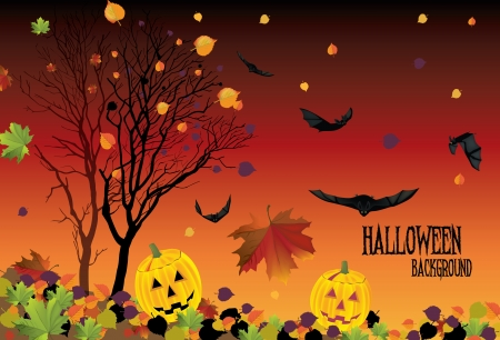The illustration of halloween background with fallen leaves and bats Stock Vector - 25206785
