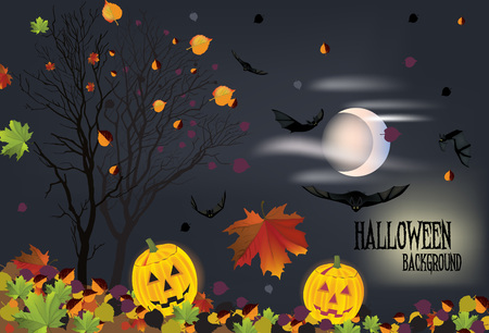 The illustration of halloween background with fallen leaves and bats Stock Vector - 25206786
