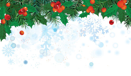 The illustration of beautiful christmas background with holly tree branches