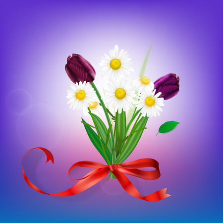 The illustration of beautiful bouquet with camomiles and tulips. Vector image. Illustration