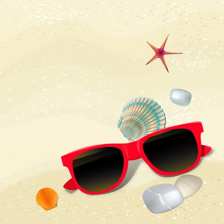 polarised: Sand background with sunglasses and pebble. Vector illustration. Illustration