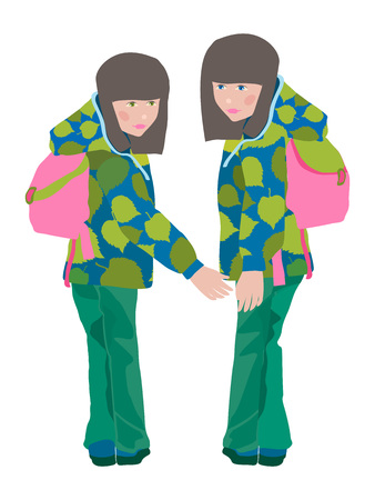 The illustration of twin sisters walking to school Vector