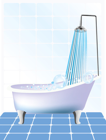Vector illustration of shower and bathtub Vector