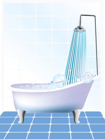 Vector illustration of shower and bathtub Vector