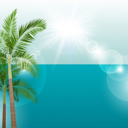 Summer holiday background with palms  Vector illustration  Vector