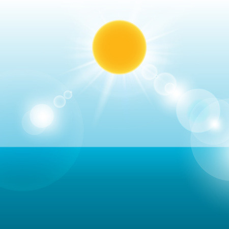 sea landscape: Summer holiday background with sea landscape  Vector illustration  Illustration