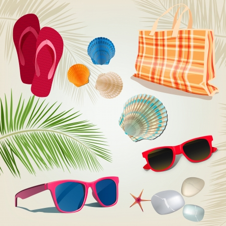 polarised: Summer kit with sunglasses, shells and pebble  Vector illustration