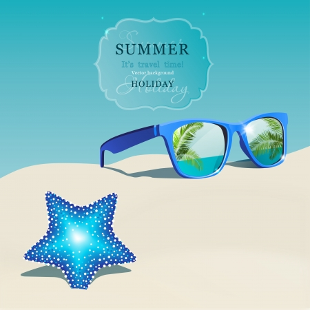 polarized: The illustration of beautiful sunglasses on the seashore  Vector image