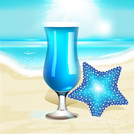 sea landscape: Summer holiday background with sea landscape, cocktail and starfish  Vector illustration