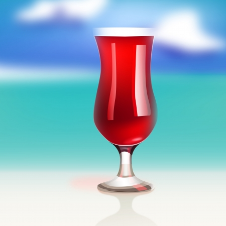 mixed drink: The illustration of beautiful cocktail on the seashore  Vector image  Illustration