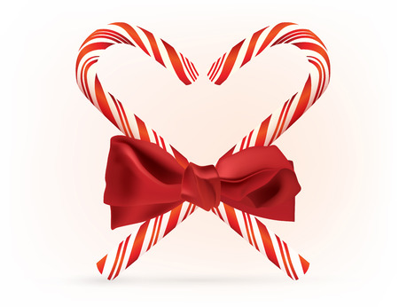 The illustration of red striped candy canes Vector