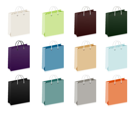 shoppings: Set of shoppings bags  White, black and colorful