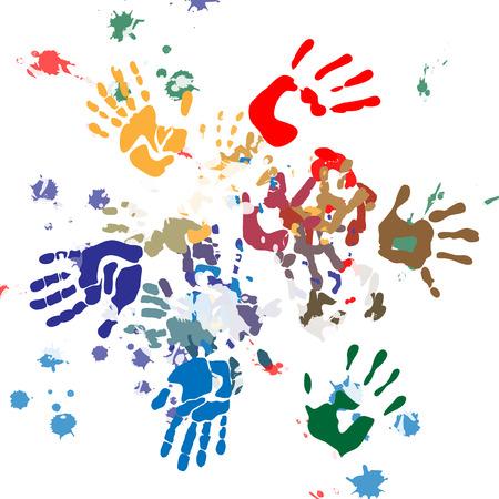 childishly: handprints color round Illustration